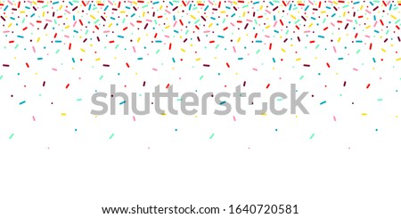 Seamless pattern with rainbow, colorful falling decorative sprinkles banner background. Vector donut glaze pastry elements