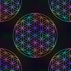 Seamless pattern with rainbow sign of the Flower of Life on a black background