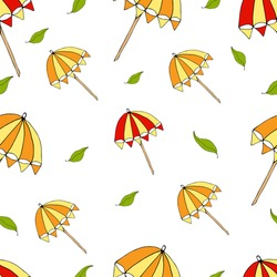 Seamless pattern with red and yellow umbrellas for celebrate holiday. Vector hand draw  Illustration EPS10