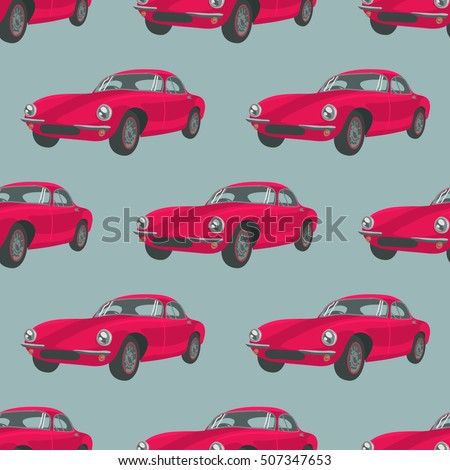 seamless pattern with red cars