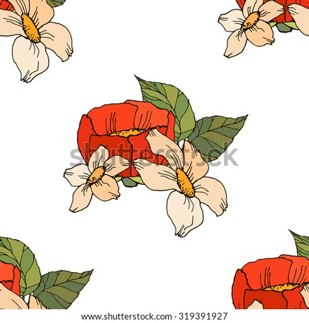 seamless pattern with red