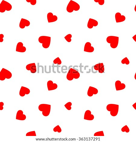 Seamless pattern with red hearts