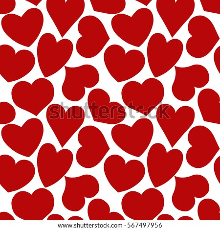 Shutterstock Seamless pattern with red hearts of different form on a white background. Vector eps 10.