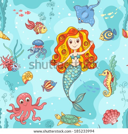 Seamless pattern with red mermaid. Vector cartoon illustration.