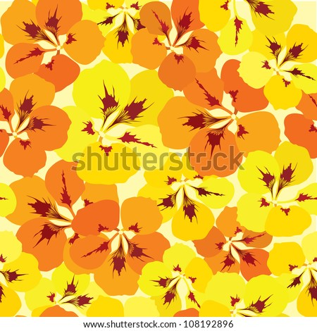 seamless pattern with red, orange, purple and vinous flowers