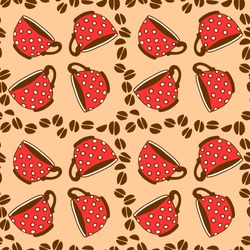 Seamless pattern with red polka dot cups mugs and grains of coffee. Hand drawn kitchen supplies isolated. Vector background and texture. Perfect for packaging, home decoration, textile, menu, cafe