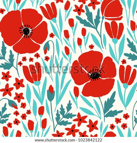 seamless pattern with red poppy