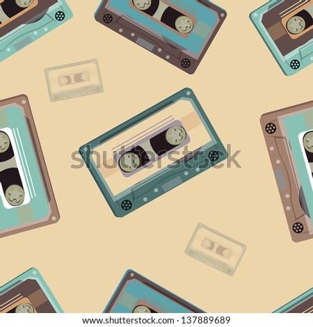 Seamless Pattern with retro audio cassettes. Retro. Vector