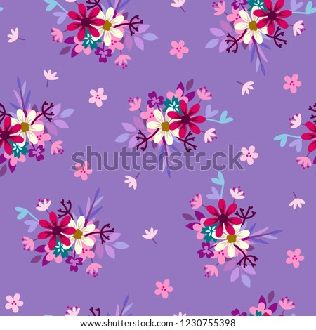 seamless pattern with retro pattern of rosettes of meadow flowers
