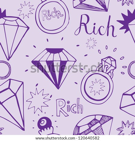 "Seamless pattern with rings, diamonds and text ""Rich"""