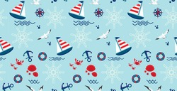 Seamless pattern with sailboat, anchor, steering wheel and lifebuoy. Cute Marine pattern for fabric, baby clothes, background, textile, wrapping paper and other decoration.Vector illustration.
