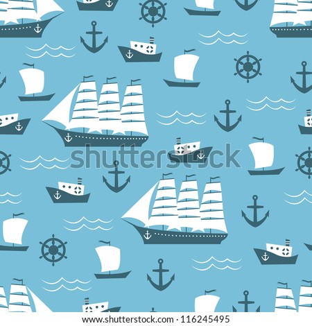 Seamless pattern with sailboat, vector illustration