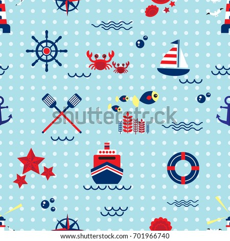 Seamless pattern with sailing, anchor, steering wheel, lifebuoy and seagull. Cute Marine pattern for fabric, baby clothes, background, textile, wrapping paper and other decoration.Vector illustration