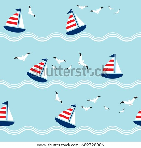 seamless pattern with sailing