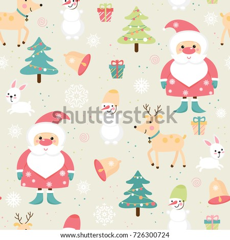 Seamless Pattern With Santa Reindeer And Other Christmas Symbols