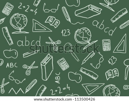 Seamless pattern with school object icon and symbols. Education background doodle.