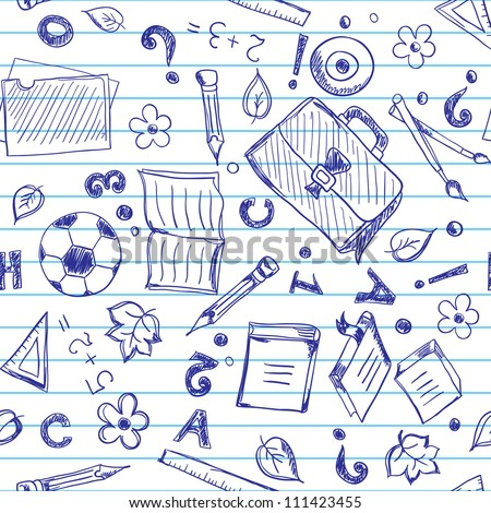 Seamless pattern with school objects stylized under drawn in a copybook