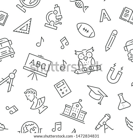 Seamless pattern with school subjects and education. Black and white thin line icons