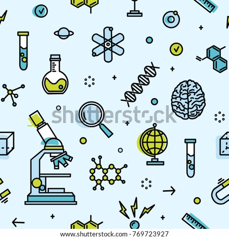 Seamless pattern with scientific laboratory equipment. Backdrop with attributes of science, biological or chemical experiment, research. Modern vector illustration in line art style for wallpaper.