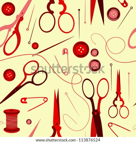 Seamless pattern with scissors, button, needle. Sewing background