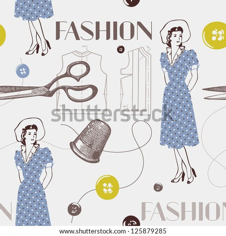 seamless pattern with scissors, thread, needle. Vintage background