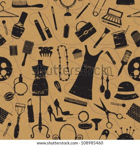 Seamless pattern with scratched beauty and fashion symbols on paper textured background