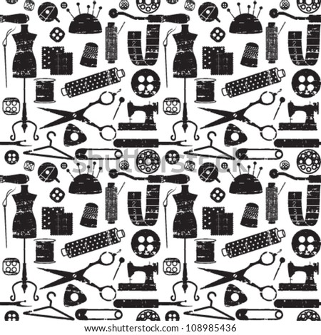Seamless pattern with scratched sewing related symbols