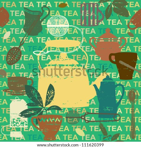 Seamless pattern with scratched tea related symbols and letters 3