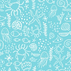 Seamless pattern with sea animals.