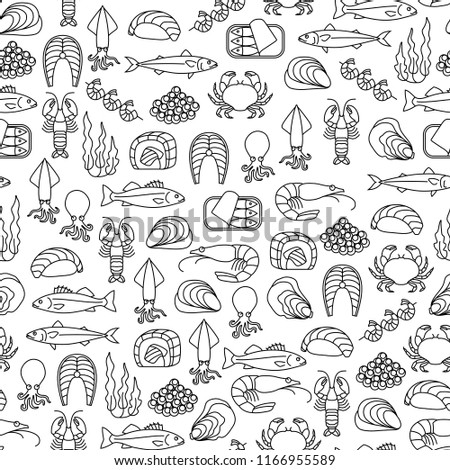 seamless pattern with seafood icons