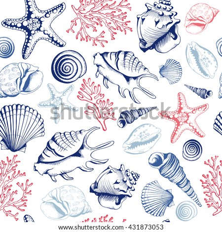 seamless pattern with seashells ...