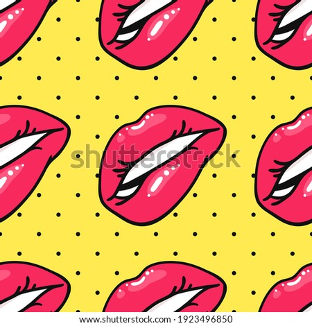Seamless Pattern with Sexy Female Lips with Gloss Pink Lipstick. Pop Art Style Vector Fashion Illustration Woman Mouth. Gestures Collection Expressing Different Emotions