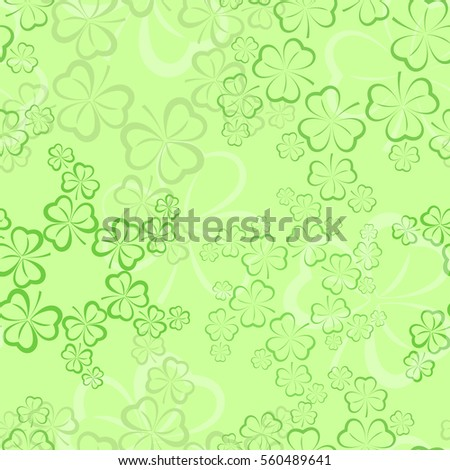 Seamless pattern with shamrock leaves. St. Patrick's day holiday symbol. Vector illustration
