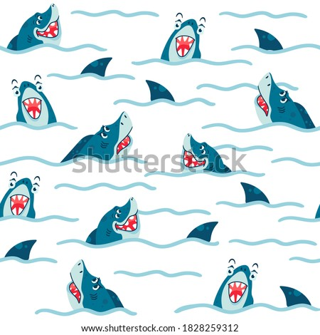seamless pattern with sharks in