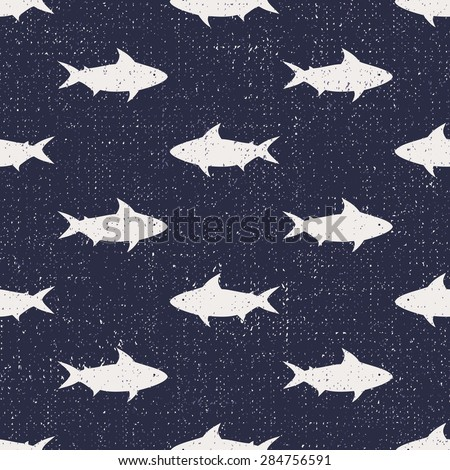 Seamless pattern with sharks. Nautical background. Cute sea life illustration.