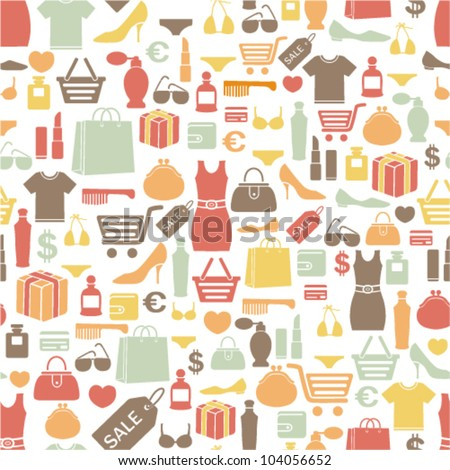 seamless pattern with shopping icons