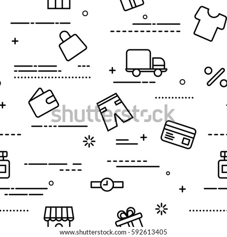 Seamless pattern with shopping icons in filled outline style. Vector background with icons purse, delivery, shop, discount. Use for online shop, mobile shopping, online store, buying on internet.