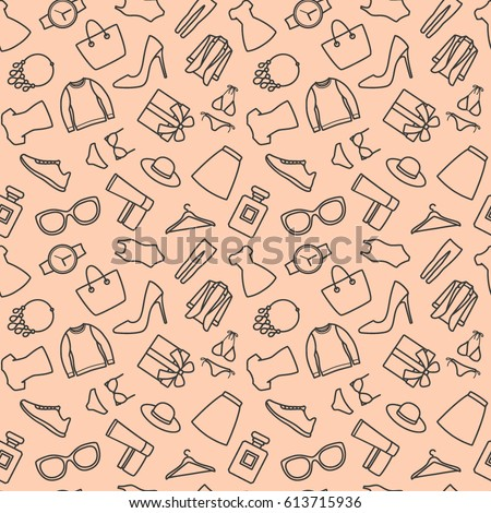 Seamless pattern with shopping icons. Women clothes and accessories on pink background. Fashion background. Vector illustration.