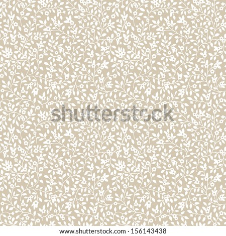 Seamless pattern with silhouette of small flowers and leaves. Vector illustration. White flowers on a beige background.