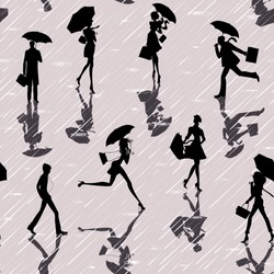 Seamless pattern with silhouettes of people with umbrellas in a rainy day