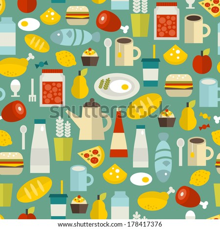 Seamless pattern with simple food. Vector illustration.