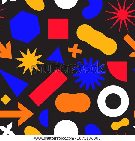 Seamless pattern with simple geometric minimalistic abstract shapes and figures in complementary bright and black colors. Contemporary trendy bauhaus and czech style endless print or ornamnet.