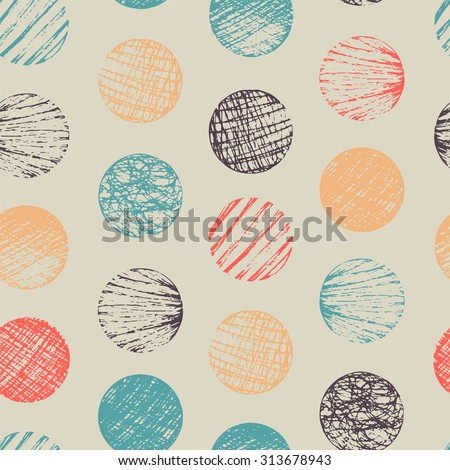Seamless pattern with sketch circles. - stock vector