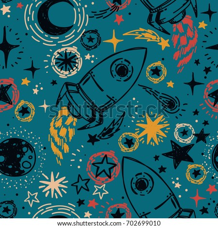seamless pattern with sketch style stars, rockets, comets and planets, can be used for party or for space exploration program, vector illustration