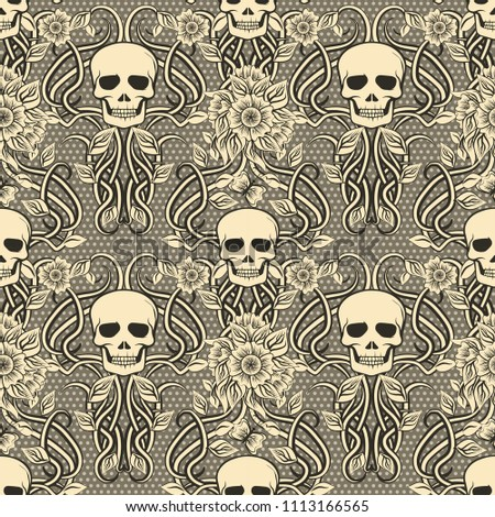 seamless pattern with skull and