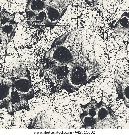 seamless pattern with skulls in