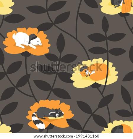 seamless pattern with sleeping