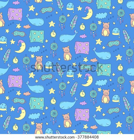 seamless pattern with sleeping