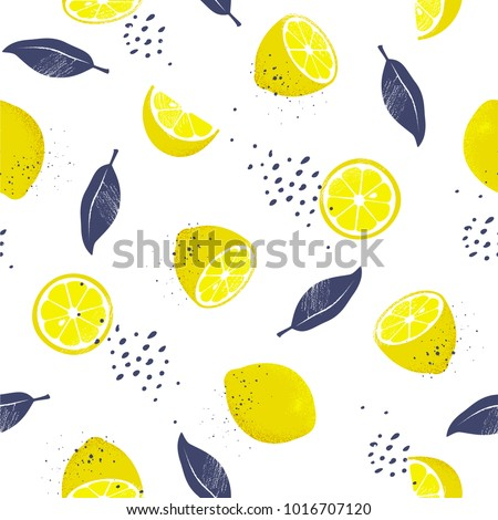 Seamless pattern with slices and whole lemons. Vector illustration.