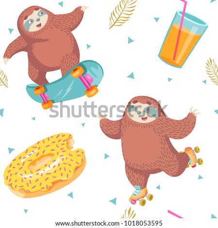 seamless pattern with sloth on